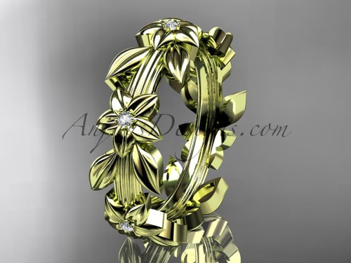 14kt yellow gold diamond leaf wedding ring,engagement ring, wedding band ADLR316B