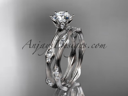 """Platinum diamond wedding ring, engagement ring, engagement set with a """"Forever One"""" Moissanite center stone ADLR132S"""