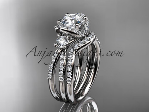 "platinum diamond unique engagement set, wedding ring with a ""Forever One"" Moissanite center stone ADER146S"