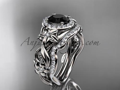 14kt white gold diamond unique engagement set, wedding set with a Black Diamond center stone ADLR300