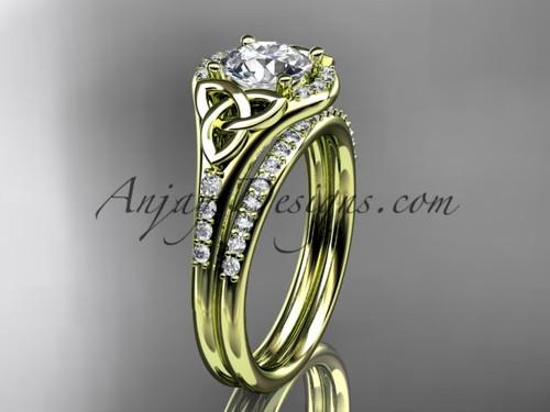 14kt yellow gold diamond celtic trinity knot wedding ring, engagement set CT7126S
