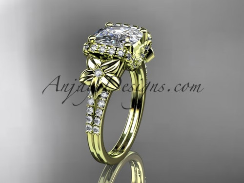 14kt yellow gold diamond floral wedding ring, engagement ring with cushion cut moissanite ADLR148