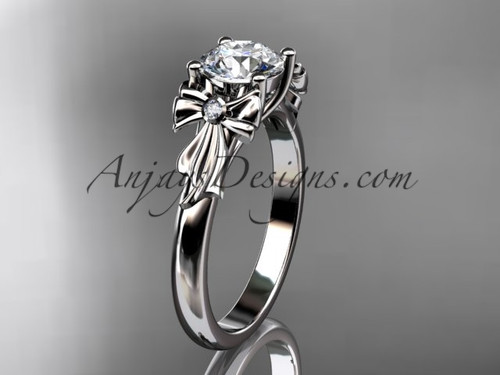 "14kt white gold diamond unique engagement ring, wedding ring with a ""Forever One"" Moissanite center stone ADER154"