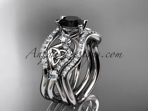 Celtic Bridal Ring Set Platinum Black Diamond Ring CT768S