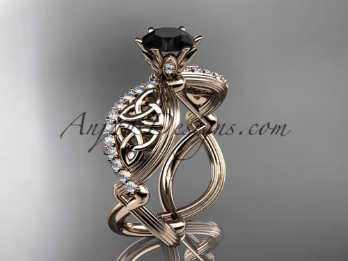 14kt rose gold diamond celtic trinity knot wedding ring, engagement ring with a Black Diamond center stone CT7192