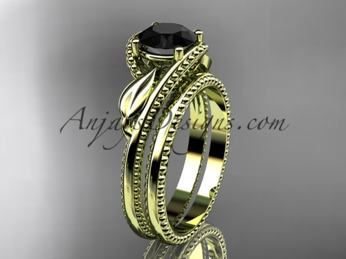 Unique Marriage Ring Yellow Gold Black Diamond Ring ADLR322S