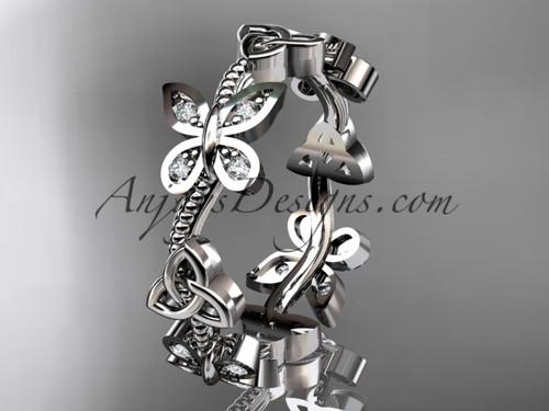 Platinum diamond celtic trinity knot wedding ring, engagement band CT7139B