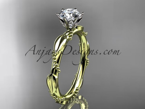"14k yellow gold diamond vine and leaf wedding ring with a ""Forever One"" Moissanite center stone ADLR178"