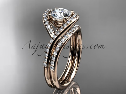 """14kt rose gold diamond wedding ring, engagement set with a """"Forever One"""" Moissanite center stone ADLR383S"""