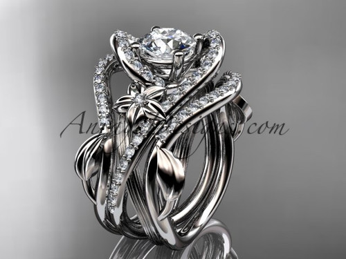 "14kt white gold diamond leaf and vine engagement ring with  ""Forever One"" Moissanite center stone and double matching band  ADLR369S"