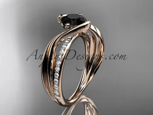 Rose Gold Black Diamond Ring, Leaf Bridal Ring ADLR78