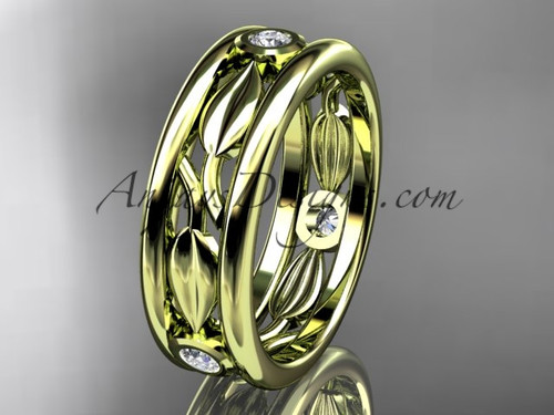 14kt yellow gold diamond leaf wedding band, engagement ring ADLR401B