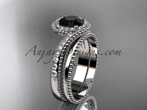 14kt white gold halo diamond engagement set with a Black Diamond center stone ADLR379S
