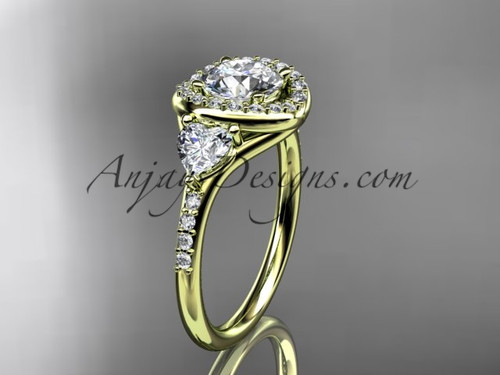 """14kt yellow gold diamond unique engagement ring,wedding ring with a """"Forever One"""" Moissanite center stone ADLR201"""