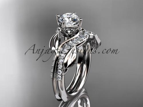 Unique  platinum diamond  leaf wedding ring, engagement set ADLR225S