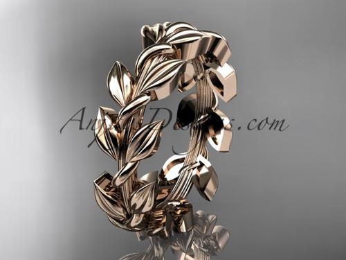 Unique Engagement Rings Rose Gold Leaf Wedding Band ADLR120G