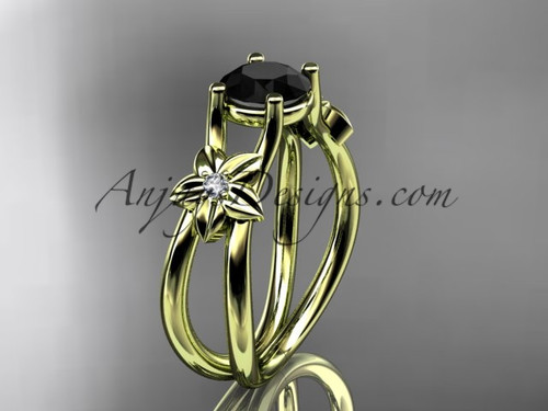 14kt yellow gold diamond floral wedding ring, engagement ring with a Black Diamond center stone ADLR130
