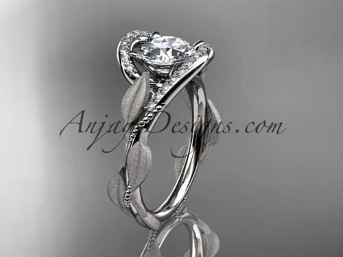Solitaire Simple Engagement Ring Platinum Leaf Ring ADLR64