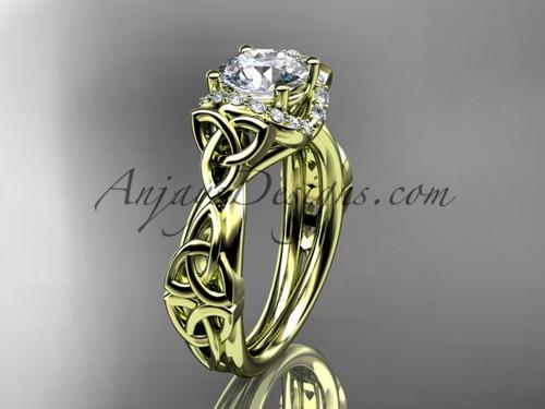 14kt yellow gold diamond celtic trinity knot wedding ring, engagement ring CT7289
