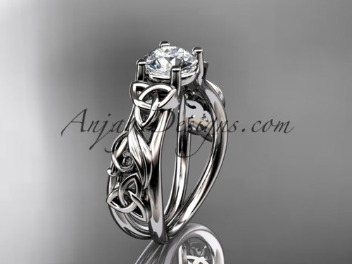 Moissanite White Gold Celtic Triquetra Wedding Ring CT7216