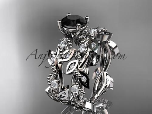 platinum diamond leaf and vine wedding ring, engagement set with  Black Diamond center stone ADLR59S