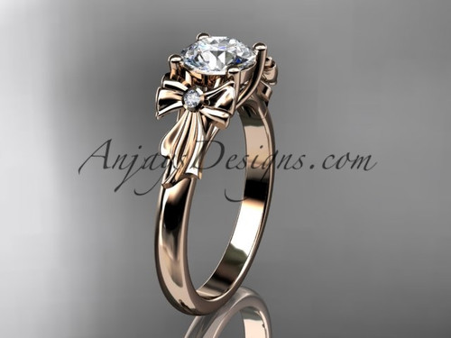 "14kt rose gold diamond unique engagement ring, wedding ring with a ""Forever One"" Moissanite center stone ADER154"