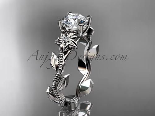 Unique 14kt white gold diamond flower, leaf and vine wedding ring, engagement ring ADLR238