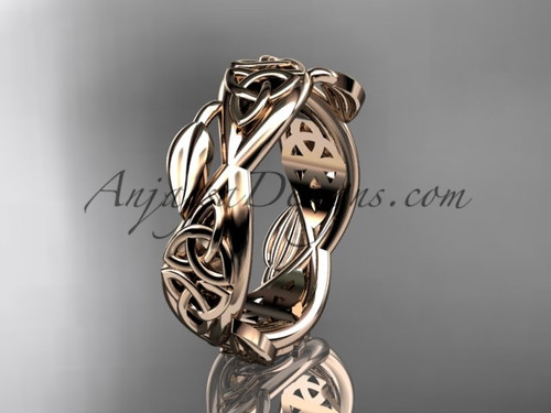 14kt rose gold celtic trinity knot wedding band, triquetra ring, engagement  ring CT7520G