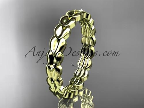 14kt yellow gold  leaf wedding ring, engagement ring, wedding band ADLR35B