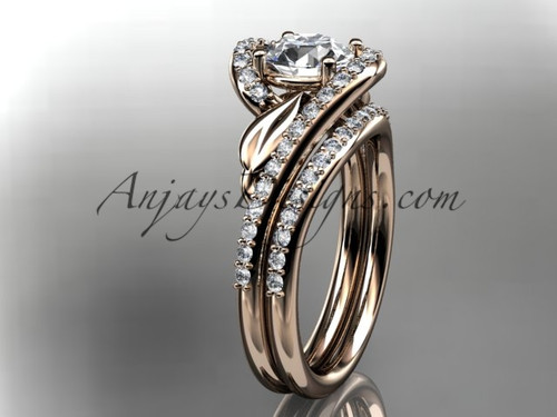 "14k rose gold diamond leaf and vine wedding ring, engagement set with a ""Forever One"" Moissanite center stone ADLR317S"