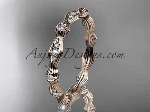 14kt rose gold diamond leaf and vine wedding band, engagement ring ADLR21B