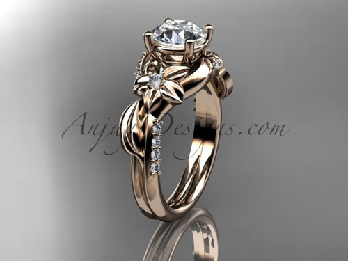"""Unique 14k rose gold diamond flower, leaf and vine wedding ring, engagement ring with a """"Forever One"""" Moissanite center stone ADLR224"""