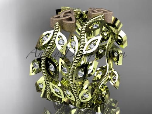 14kt two-tone gold diamond celtic trinity knot, leaf and vine wedding ring, engagement set, wedding band CT7162B 4