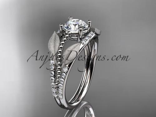 "14kt white gold diamond leaf and vine wedding ring, engagement ring with  ""Forever One"" Moissanite center stone ADLR75"