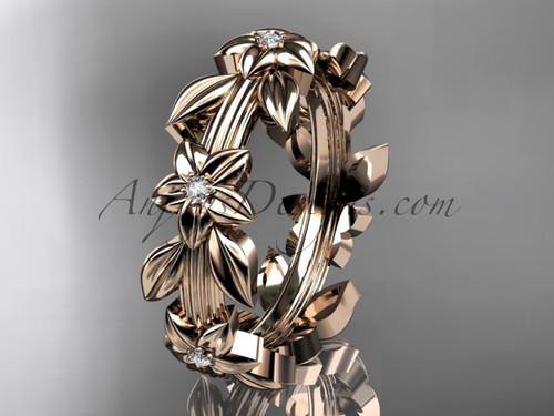 14kt rose gold diamond leaf wedding ring, engagement ring, wedding band ADLR316B