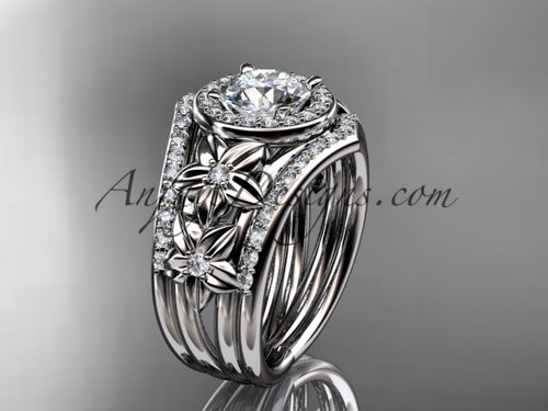 """14kt  white gold diamond floral wedding ring, engagement ring with a """"Forever One"""" Moissanite center stone and double matching band ADLR131S"""