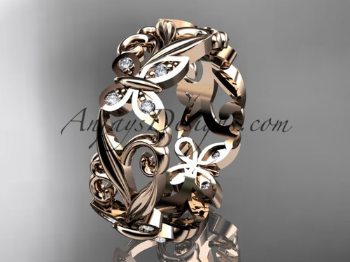 14kt rose gold diamond leaf and vine butterfly wedding ring, engagement ring, wedding band ADLR144