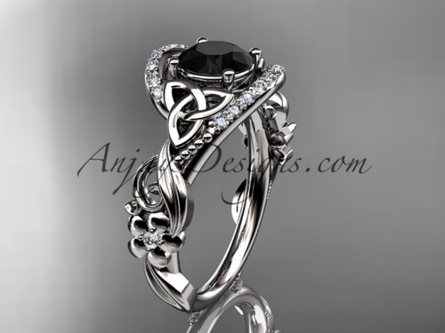 14kt white gold diamond celtic trinity knot wedding ring, engagement ring with a Black Diamond center stone CT7211