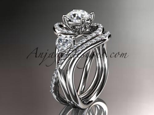 Unique platinum diamond engagement set, wedding ring ADLR320S