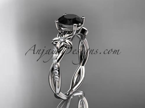 platinum flower diamond  wedding ring, engagement ring with a Black Diamond center stone ADLR388