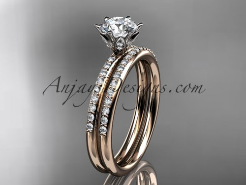 """14kt rose gold diamond unique engagement set, wedding ring with a """"Forever One"""" Moissanite center stone ADER145S"""