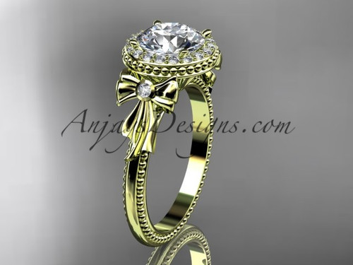 "14kt yellow gold diamond unique engagement ring, wedding ring with a ""Forever One"" Moissanite center stone ADER157"
