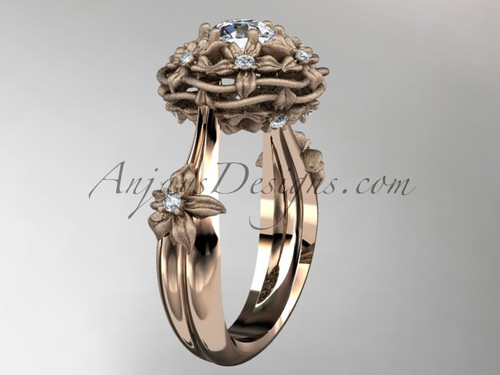"14kt rose gold diamond floral, leaf and vine ""Basket of Love\"" ring ADLR94 nature inspired jewelry"
