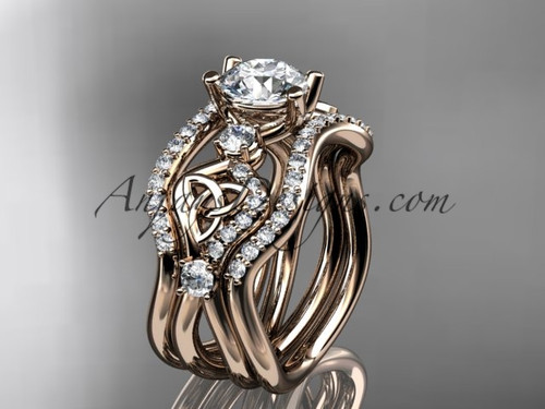 "14kt rose gold celtic trinity knot engagement ring, wedding ring with a ""Forever One"" Moissanite center stone and double matching band CT768S"