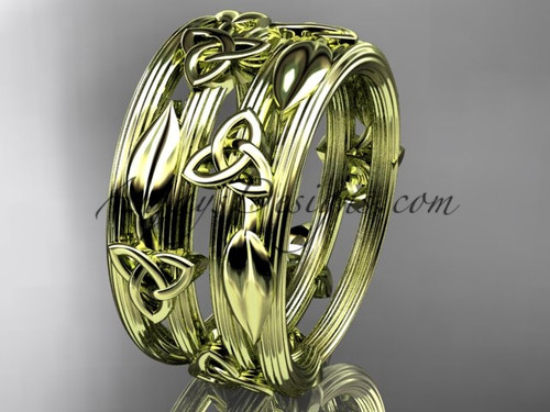 14kt yellow gold diamond celtic trinity knot wedding band, engagement ring CT7242B