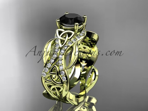 14kt yellow gold diamond celtic trinity knot wedding ring, engagement ring with a Black Diamond center stoneCT7515