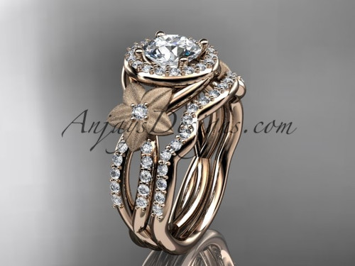 "14kt rose gold  diamond floral wedding ring, engagement set with a ""Forever One"" Moissanite center stone ADLR127S"