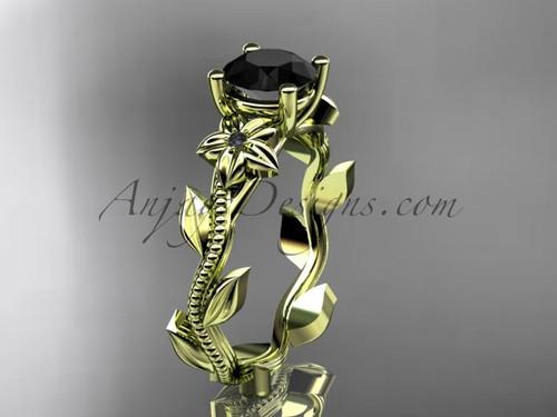 Dream Bridal Ring, Yellow Gold Black Diamond Flower Ring ADLR238