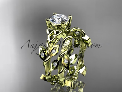 14kt yellow gold diamond celtic trinity knot wedding ring, engagement set CT7215S
