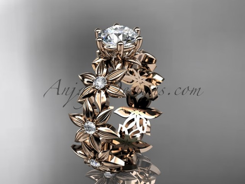"""Unique 14k rose gold diamond floral engagement ring with a """"Forever One"""" Moissanite center stone ADLR339"""